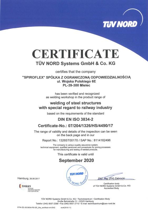 Welding certification - Spiroflex